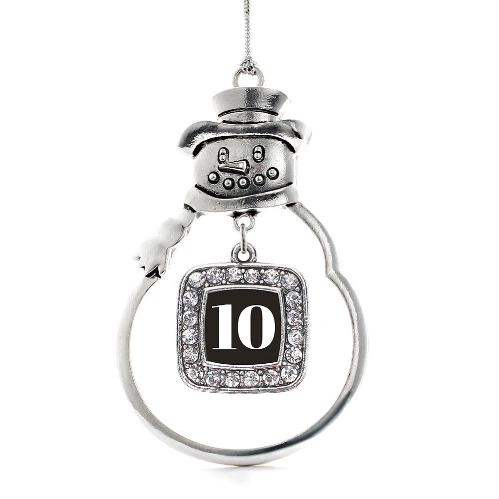 Number 10 Square Charm Christmas / Holiday Ornament