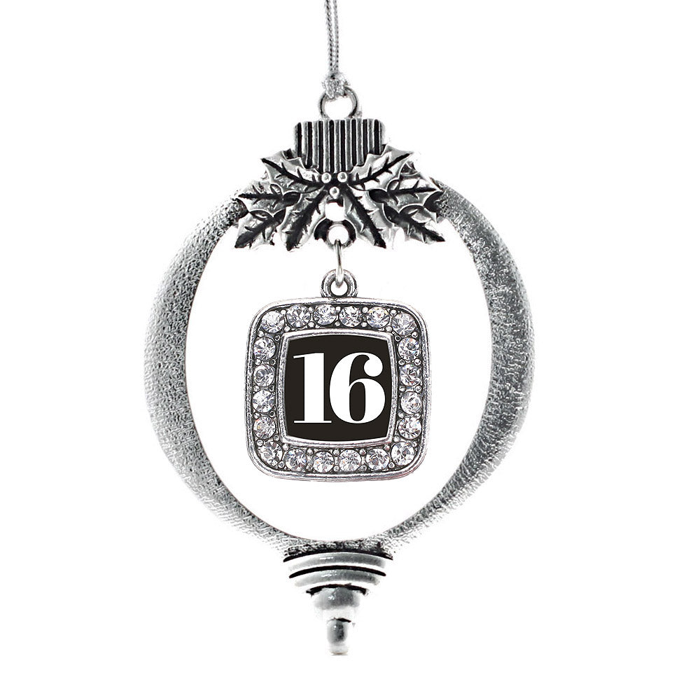 Number 16 Square Charm Christmas / Holiday Ornament
