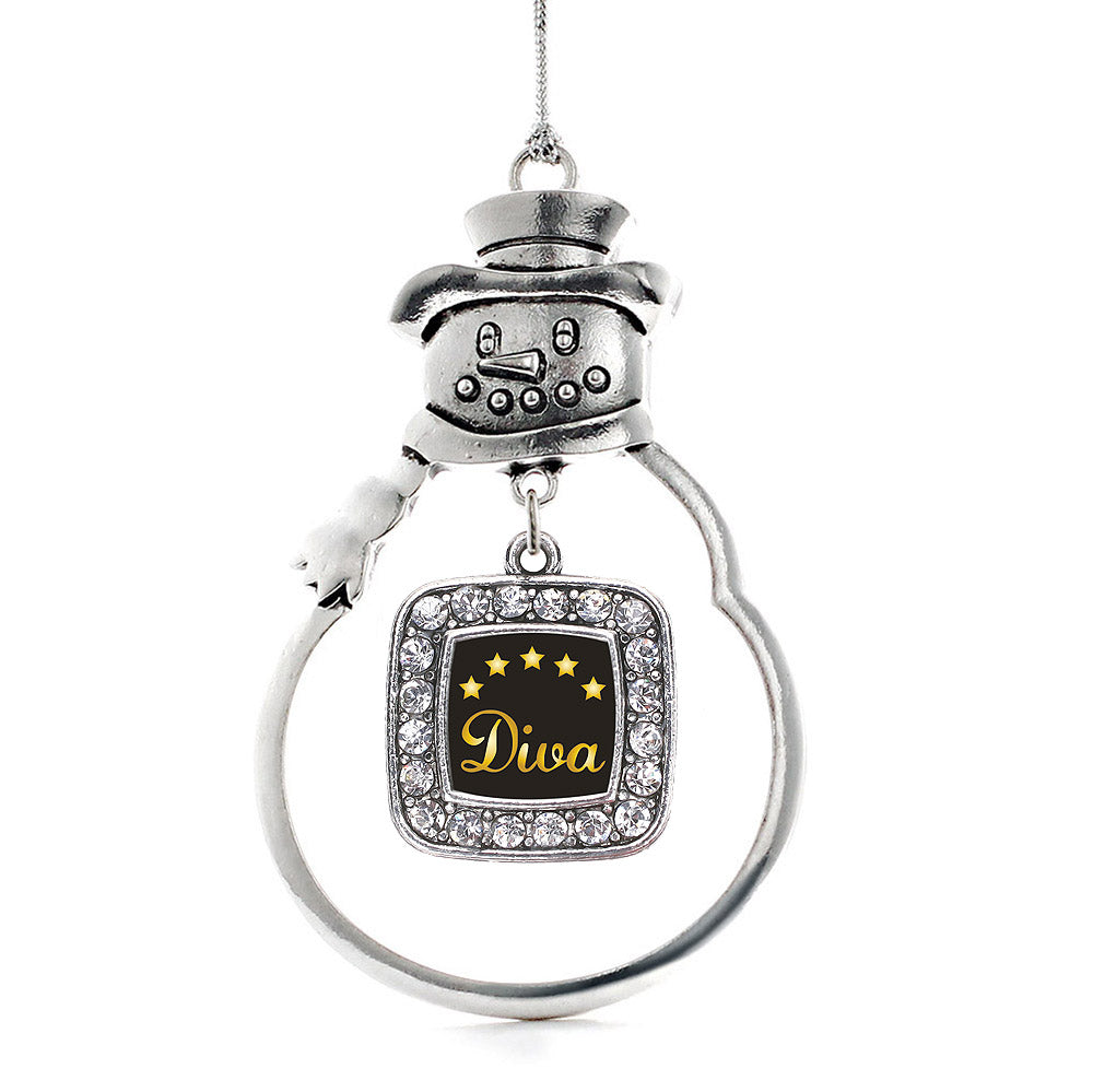 Five Star Diva Square Charm Christmas / Holiday Ornament