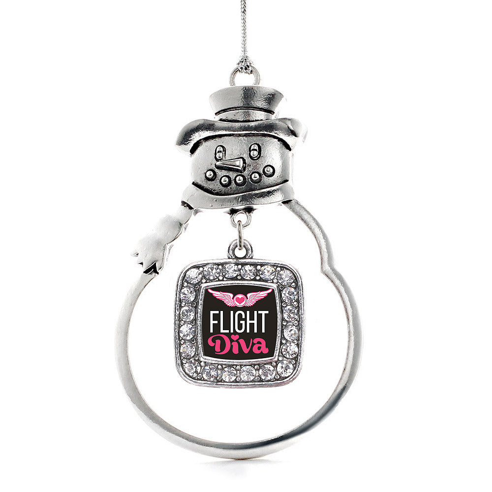 Flight Diva Square Charm Christmas / Holiday Ornament