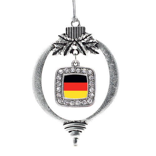 Germany Flag Square Charm Christmas / Holiday Ornament