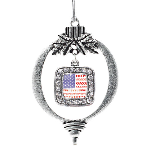 Cute American Flag Square Charm Christmas / Holiday Ornament
