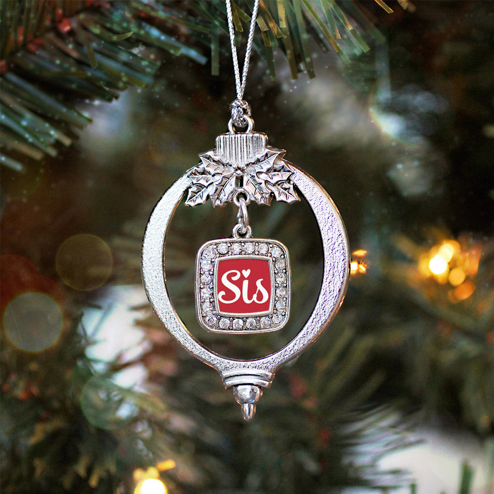 Sis Red Script Square Charm Christmas / Holiday Ornament