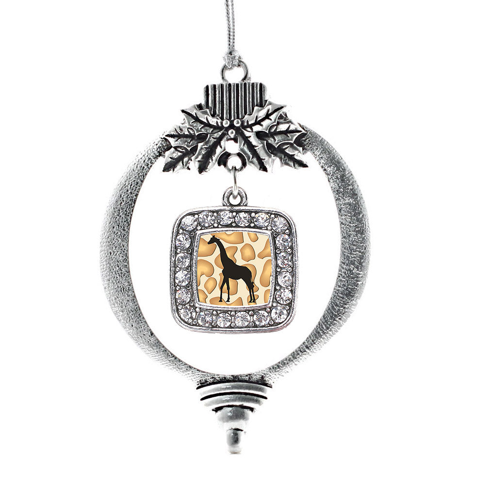 Giraffe Silhouette Square Charm Christmas / Holiday Ornament