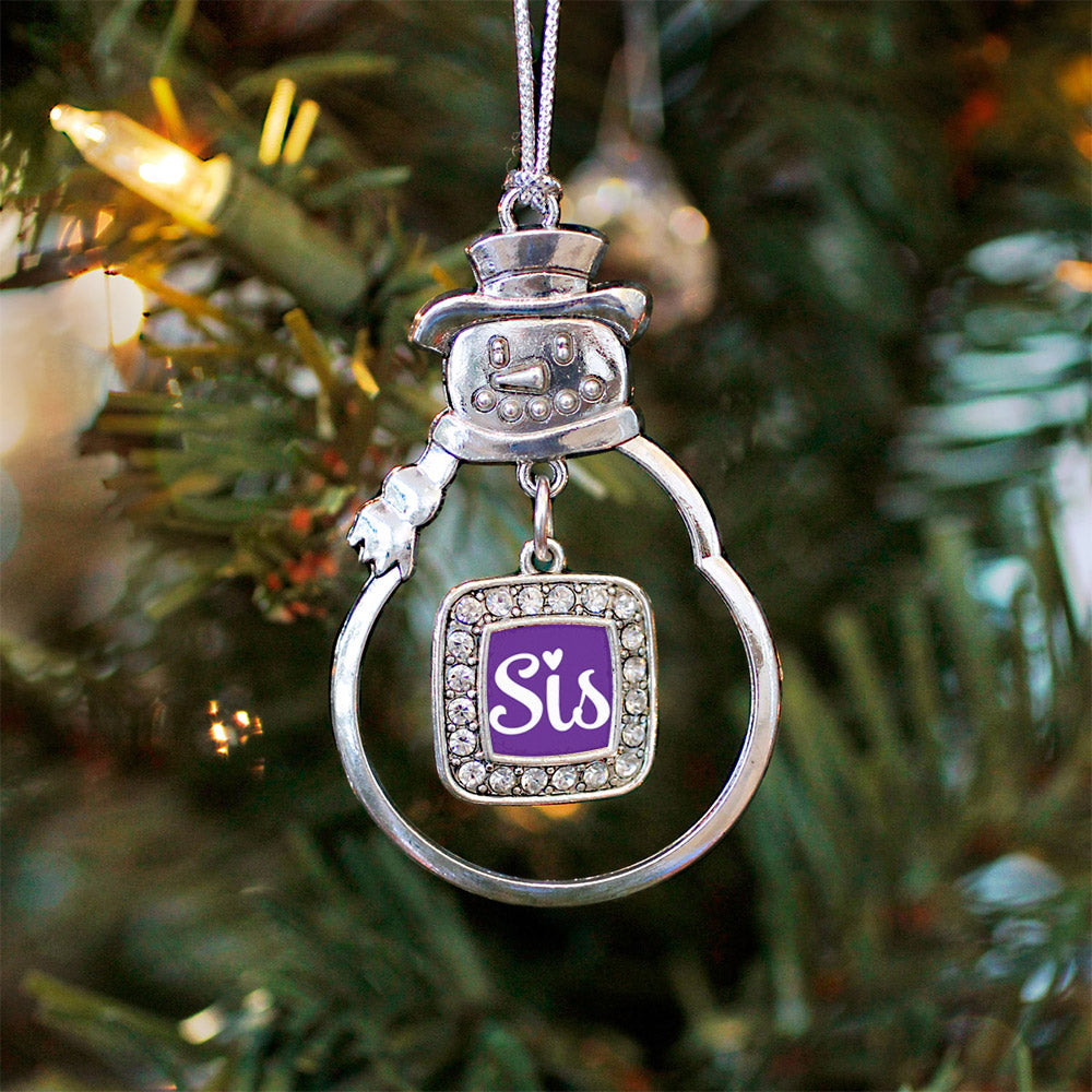 Sis Purple Script Square Charm Christmas / Holiday Ornament