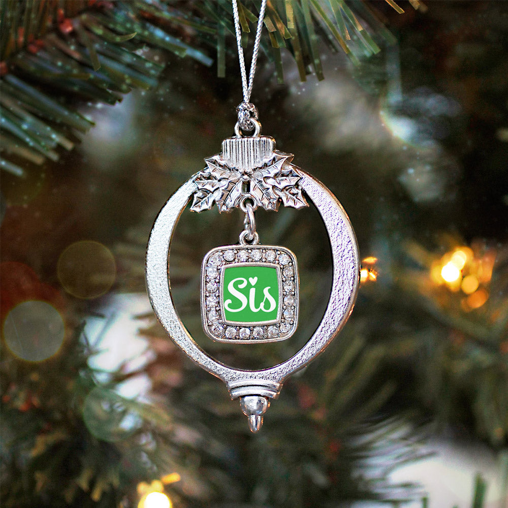 Sis Green Script Square Charm Christmas / Holiday Ornament