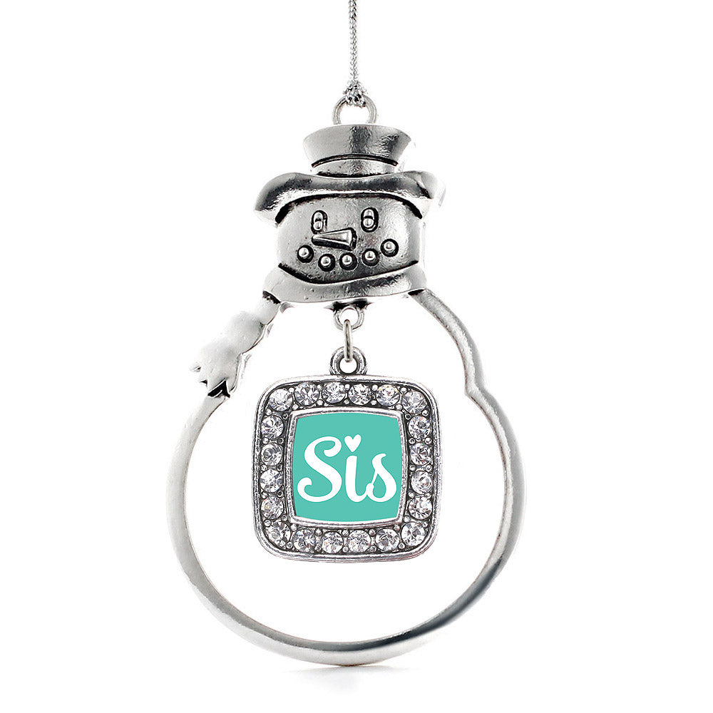 Sis Teal Script Square Charm Christmas / Holiday Ornament