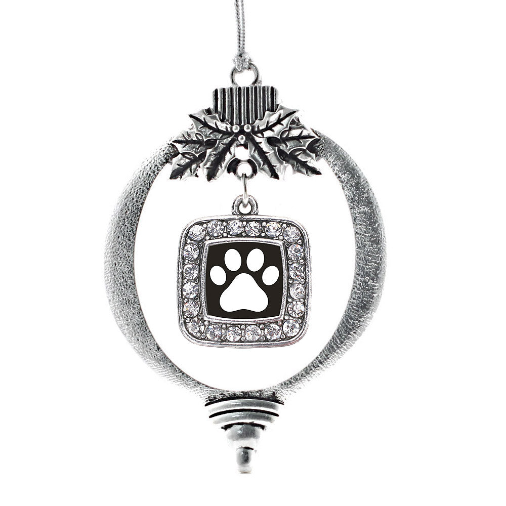 Black and White Paw Print Square Charm Christmas / Holiday Ornament