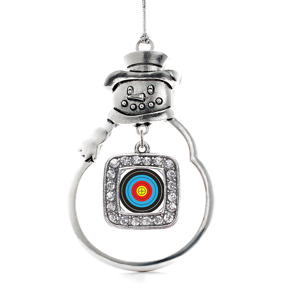 Archery Bullseye Square Charm Christmas / Holiday Ornament