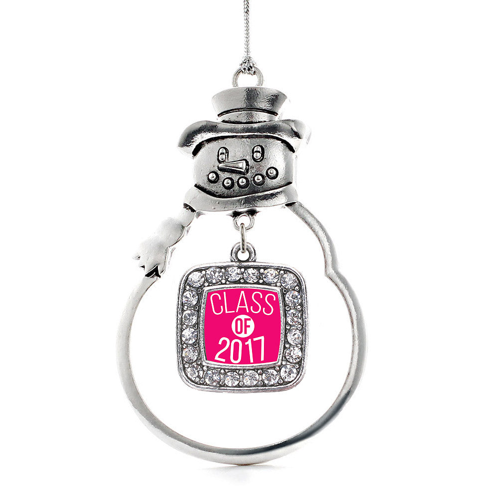 Fuchsia Class of 2017 Square Charm Christmas / Holiday Ornament