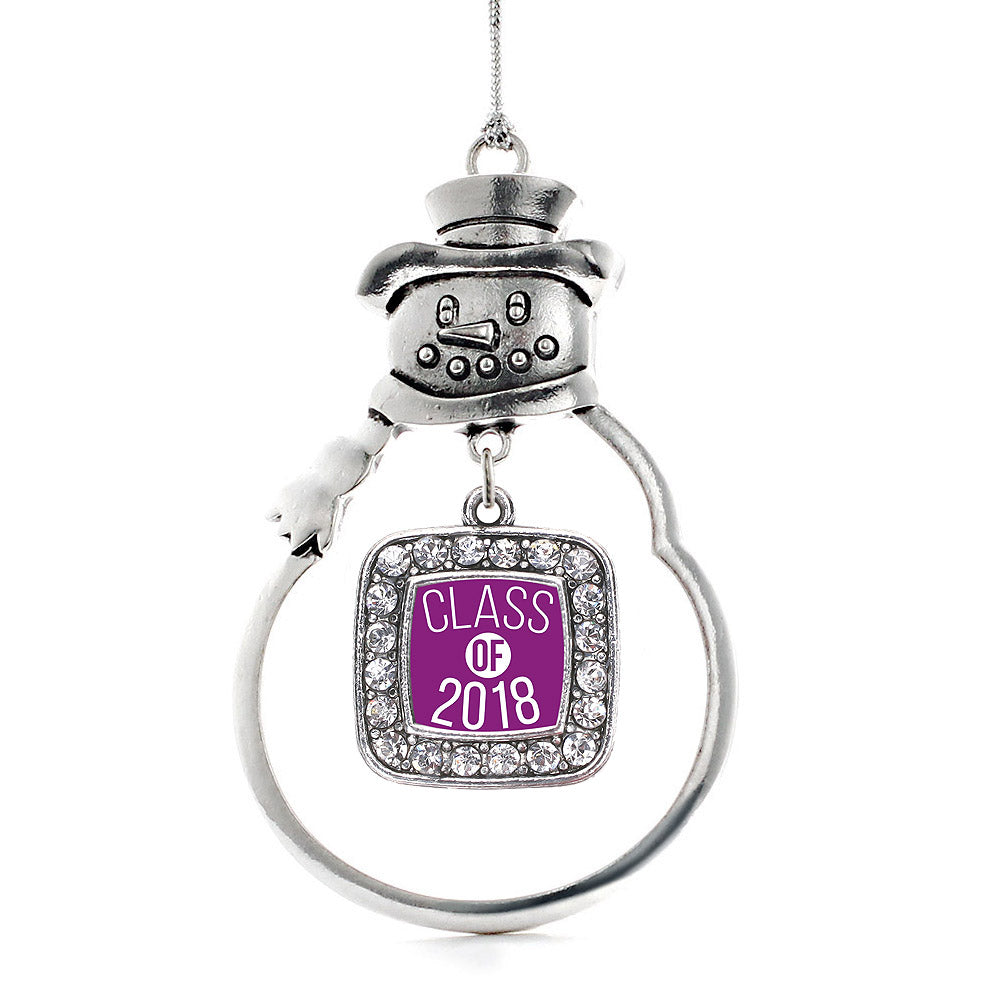 Purple Class of 2018 Square Charm Christmas / Holiday Ornament