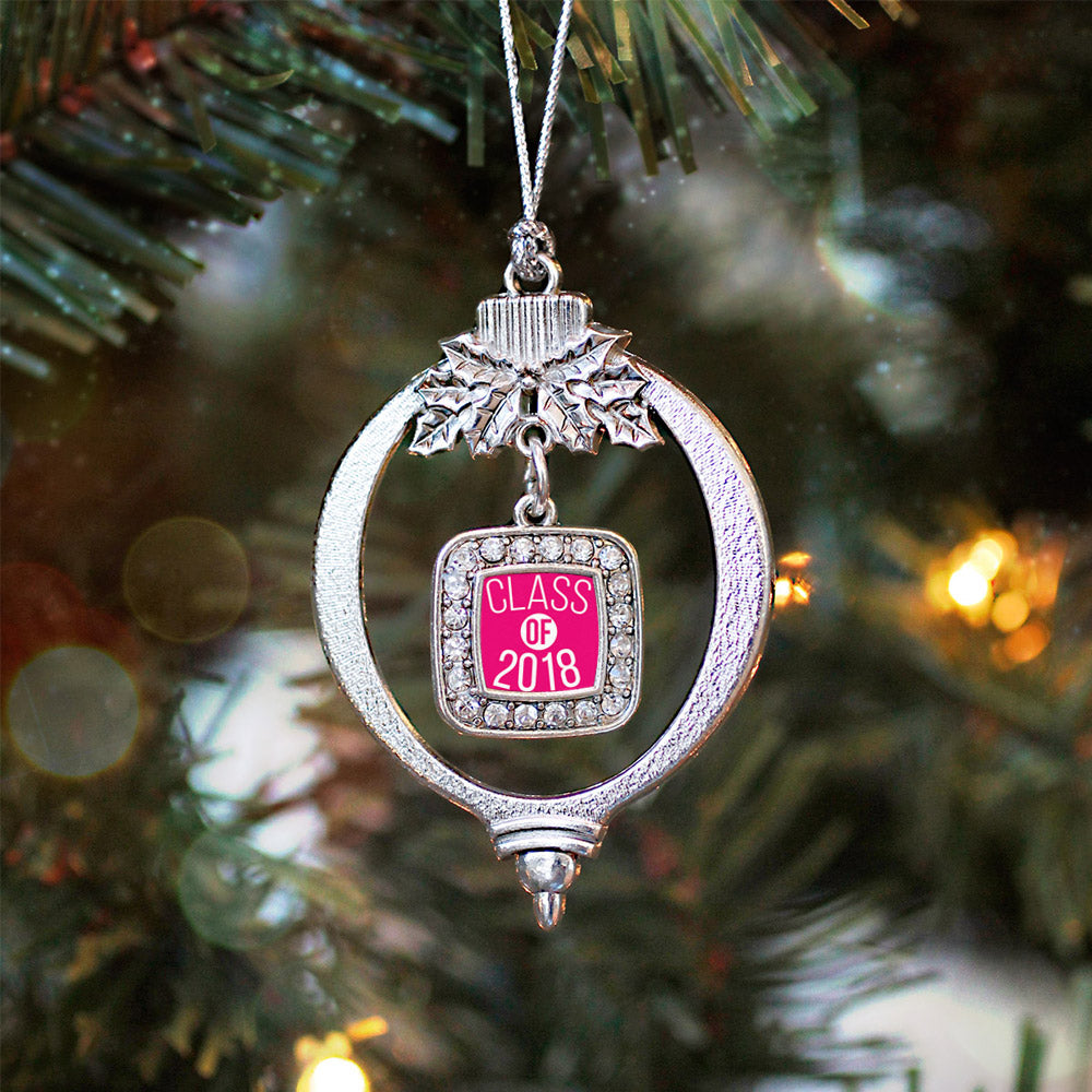 Hot Pink Class of 2018 Square Charm Christmas / Holiday Ornament
