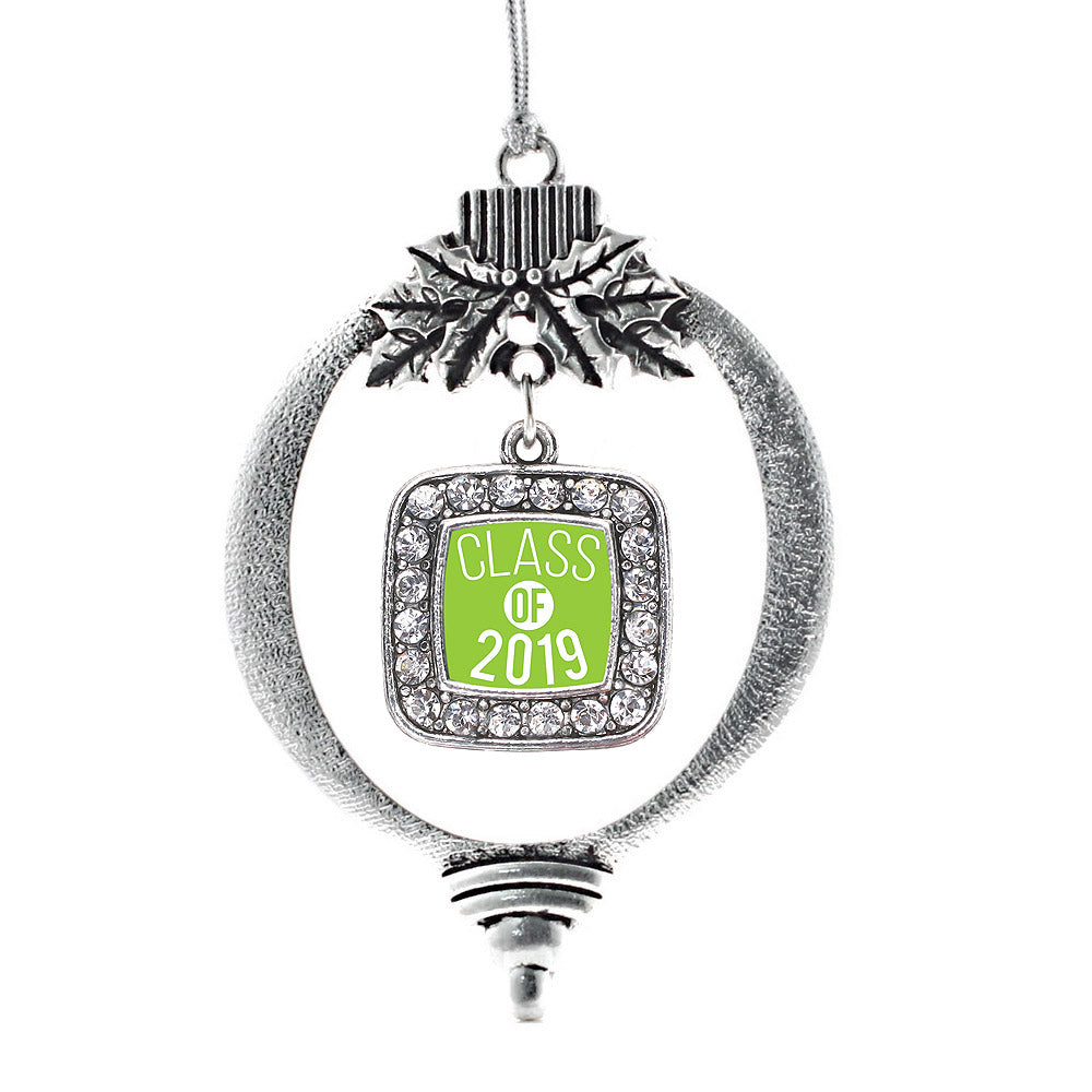 Lime Green Class of 2019 Square Charm Christmas / Holiday Ornament