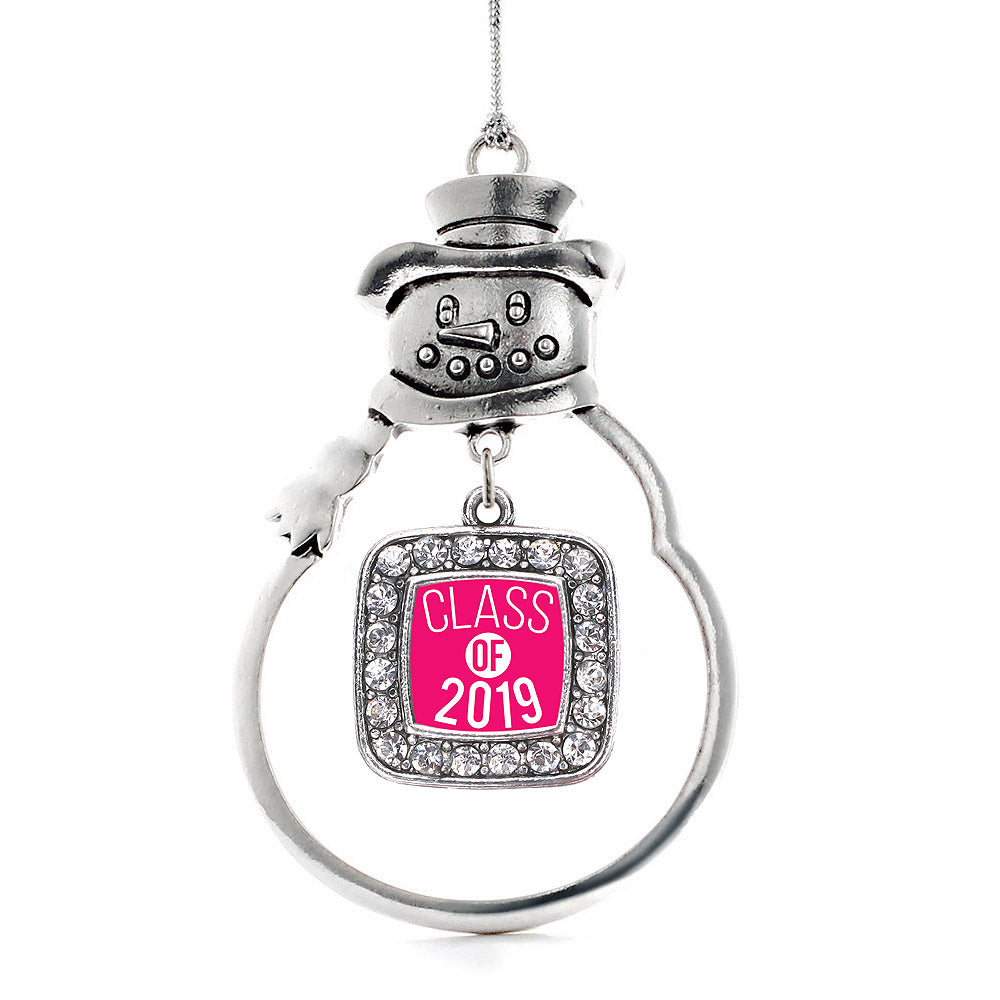 Hot Pink Class of 2019 Square Charm Christmas / Holiday Ornament