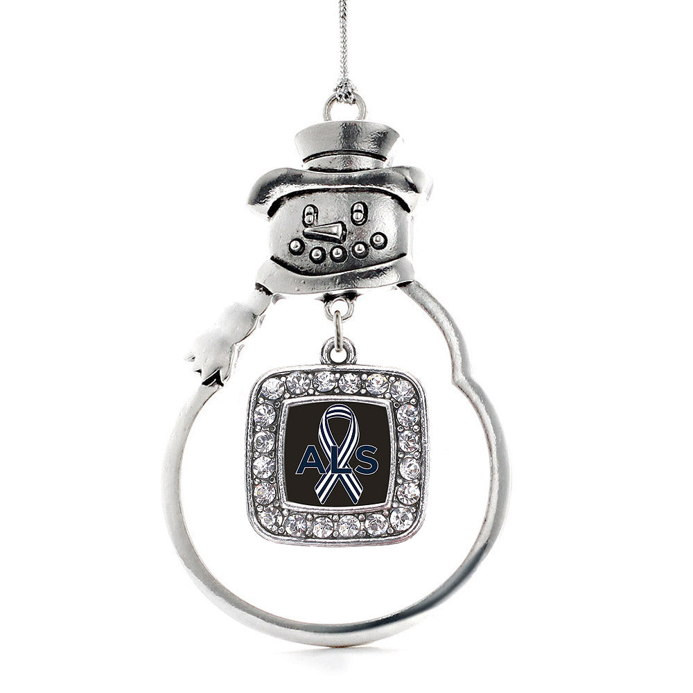 ALS Awareness Square Charm Christmas / Holiday Ornament