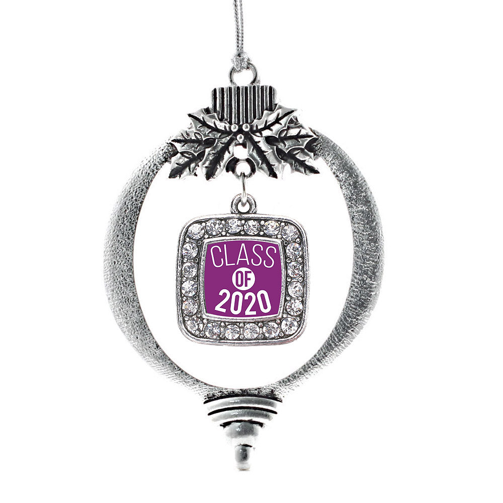 Purple Class of 2020 Square Charm Christmas / Holiday Ornament