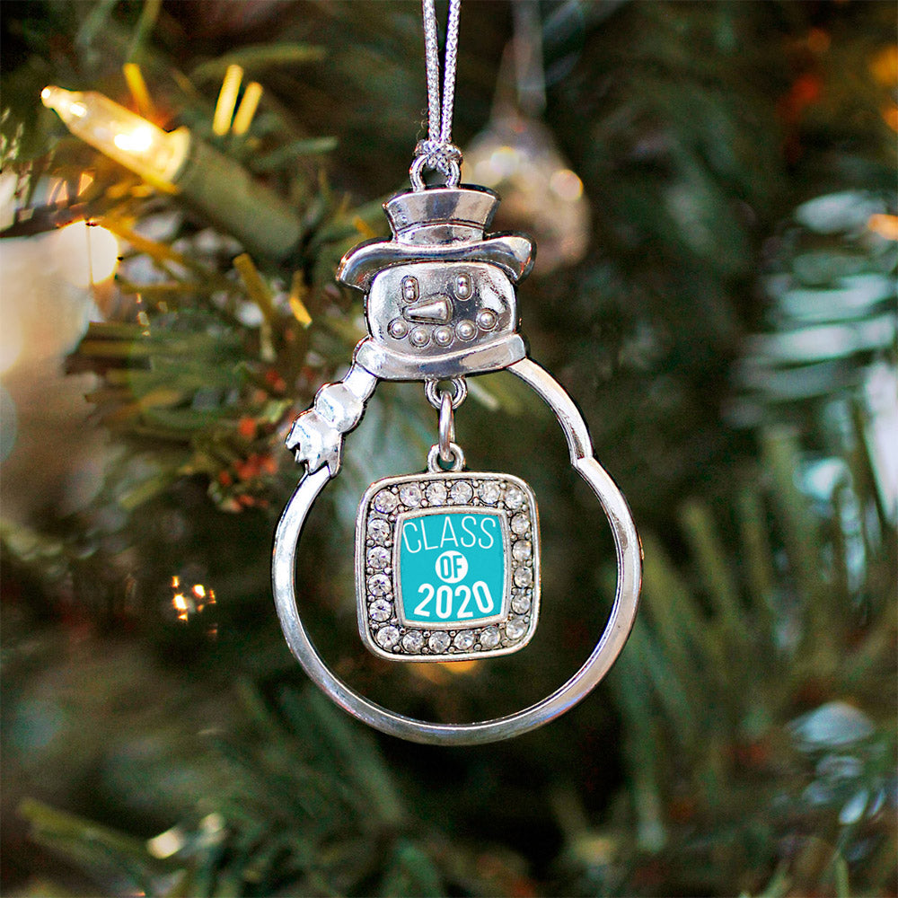 Teal Class of 2020 Square Charm Christmas / Holiday Ornament