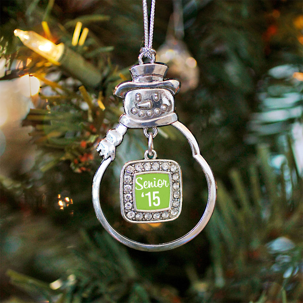 Lime Green Senior '15 Square Charm Christmas / Holiday Ornament