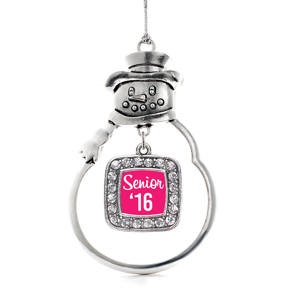 Fuchsia Senior '16 Square Charm Christmas / Holiday Ornament