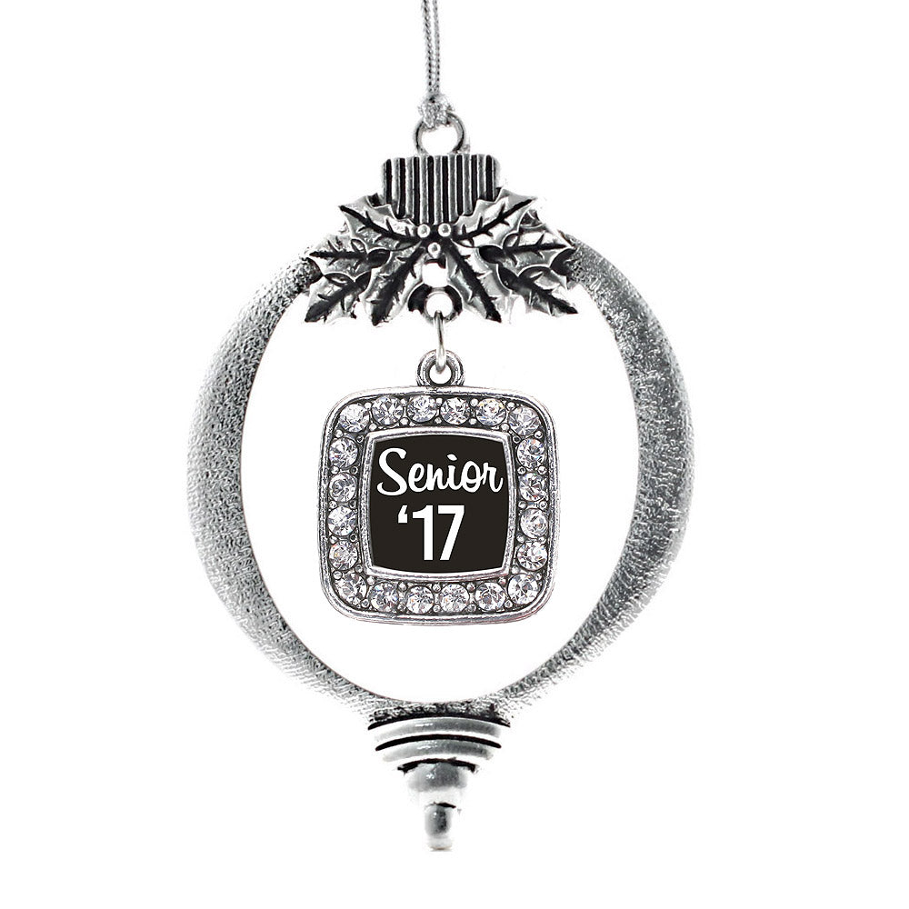 Black And White Senior '17 Square Charm Christmas / Holiday Ornament