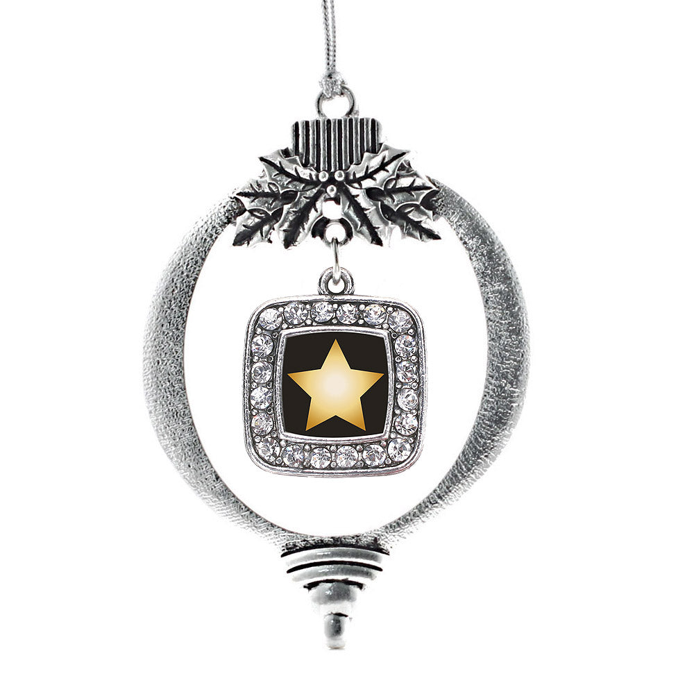 Golden Star Square Charm Christmas / Holiday Ornament