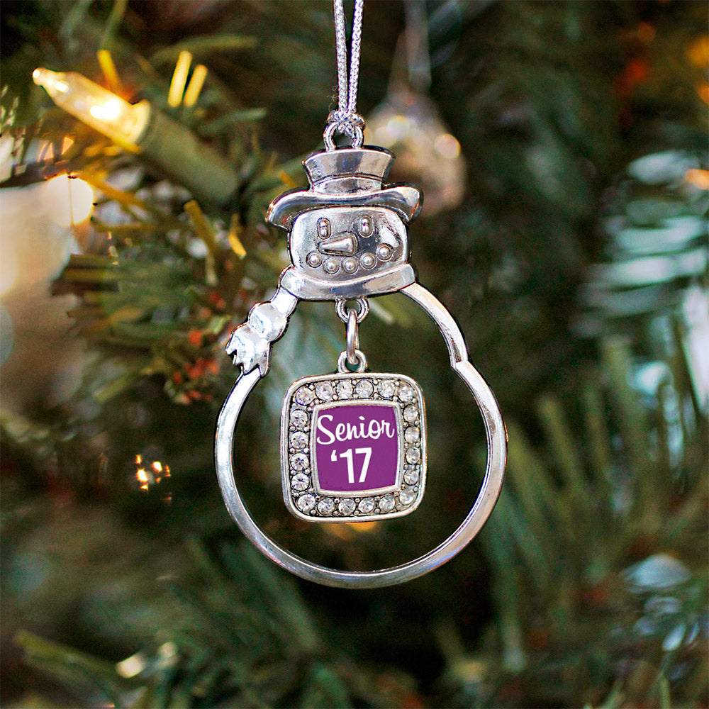 Purple Senior '17 Square Charm Christmas / Holiday Ornament