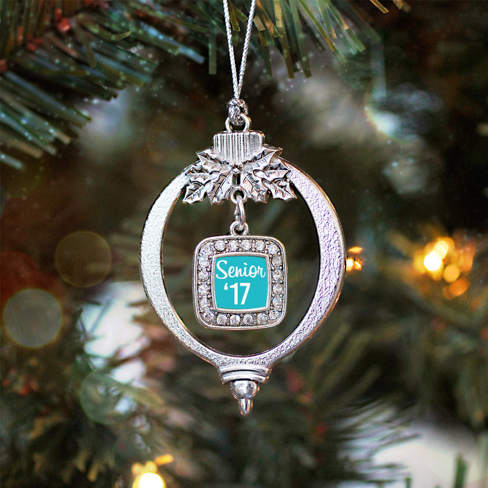 Teal Senior '17 Square Charm Christmas / Holiday Ornament