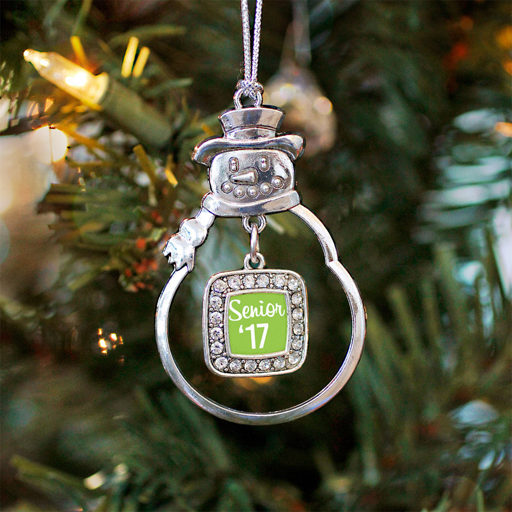 Lime Green Senior '17 Square Charm Christmas / Holiday Ornament