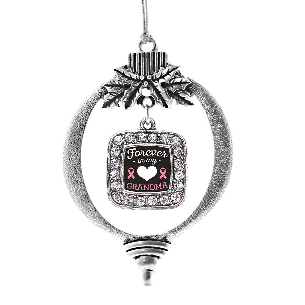 Forever in my Heart Grandma Breast Cancer Support Square Charm Christmas / Holiday Ornament