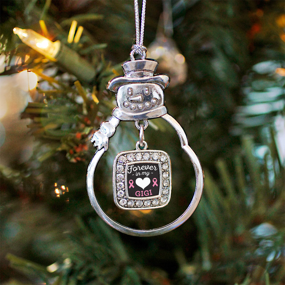 Forever in my Heart Gigi Breast Cancer Support Square Charm Christmas / Holiday Ornament