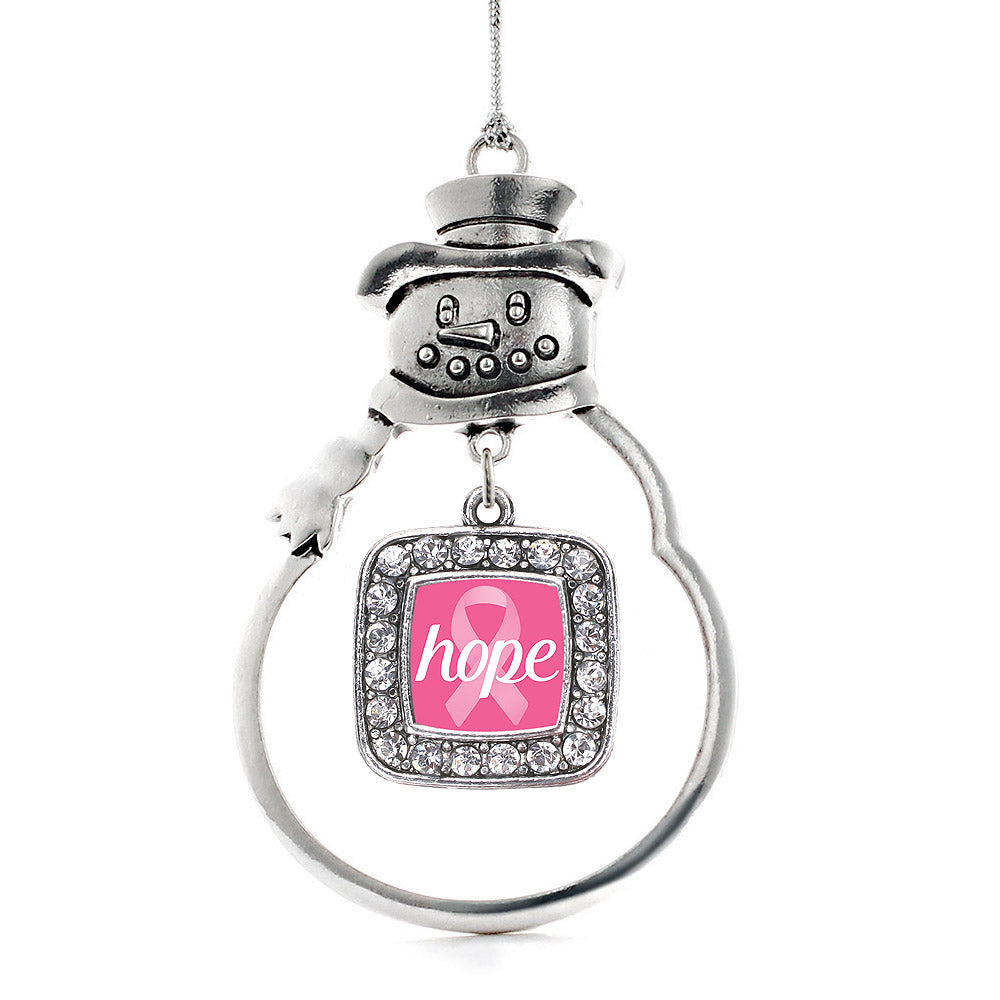 Hope Breast Cancer Awareness Square Charm Christmas / Holiday Ornament