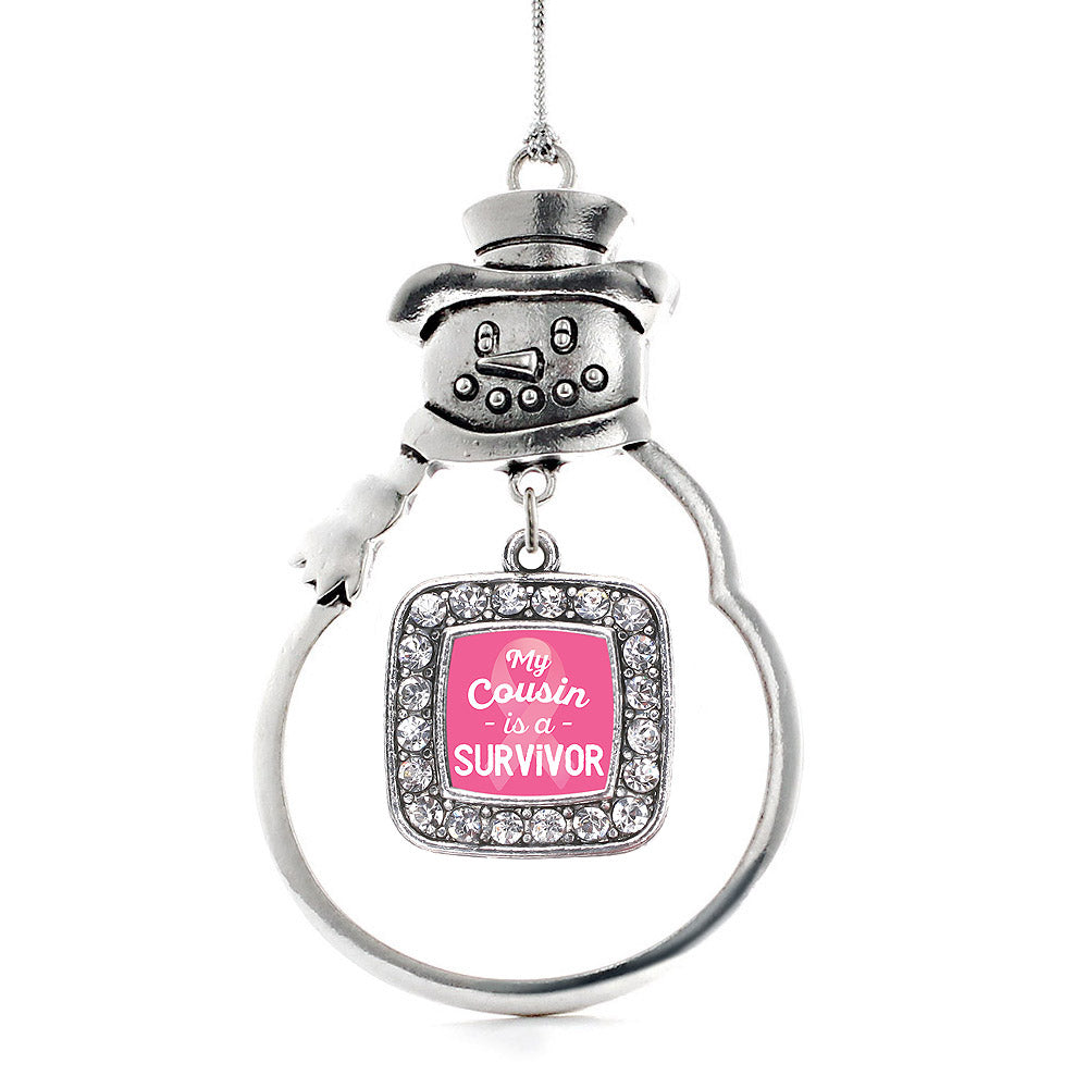 My Cousin is a Survivor Breast Cancer Awareness Square Charm Christmas / Holiday Ornament