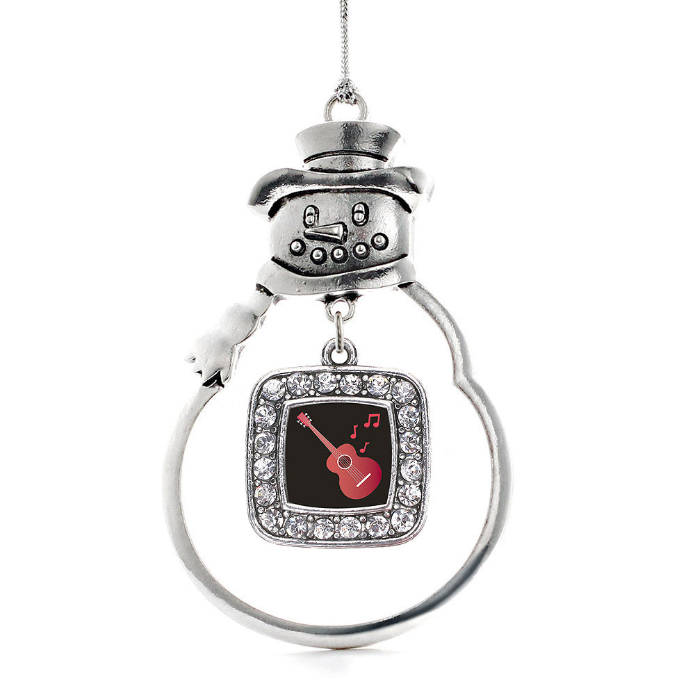 Guitar Lovers Square Charm Christmas / Holiday Ornament