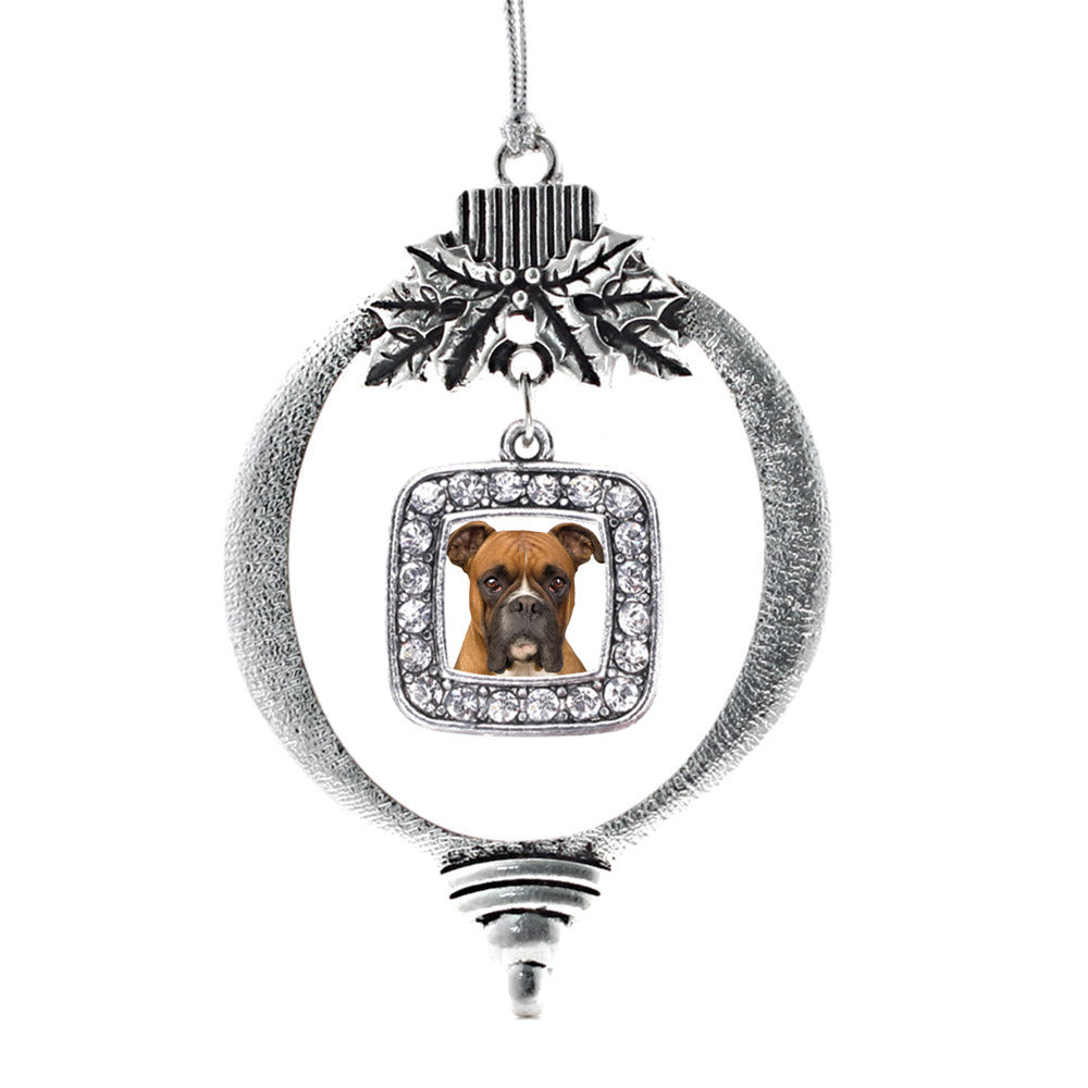 Boxer Face Square Charm Christmas / Holiday Ornament