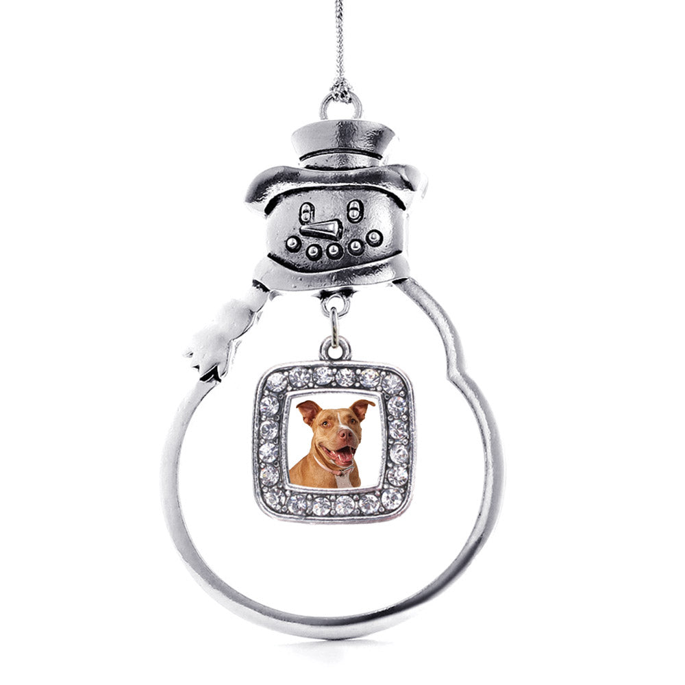 Red Pit Bull Square Charm Christmas / Holiday Ornament
