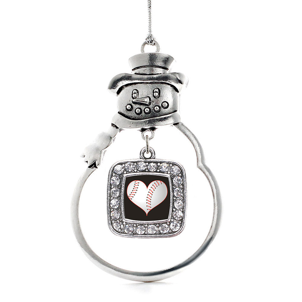 Heart Of A Baseball Player Square Charm Christmas / Holiday Ornament