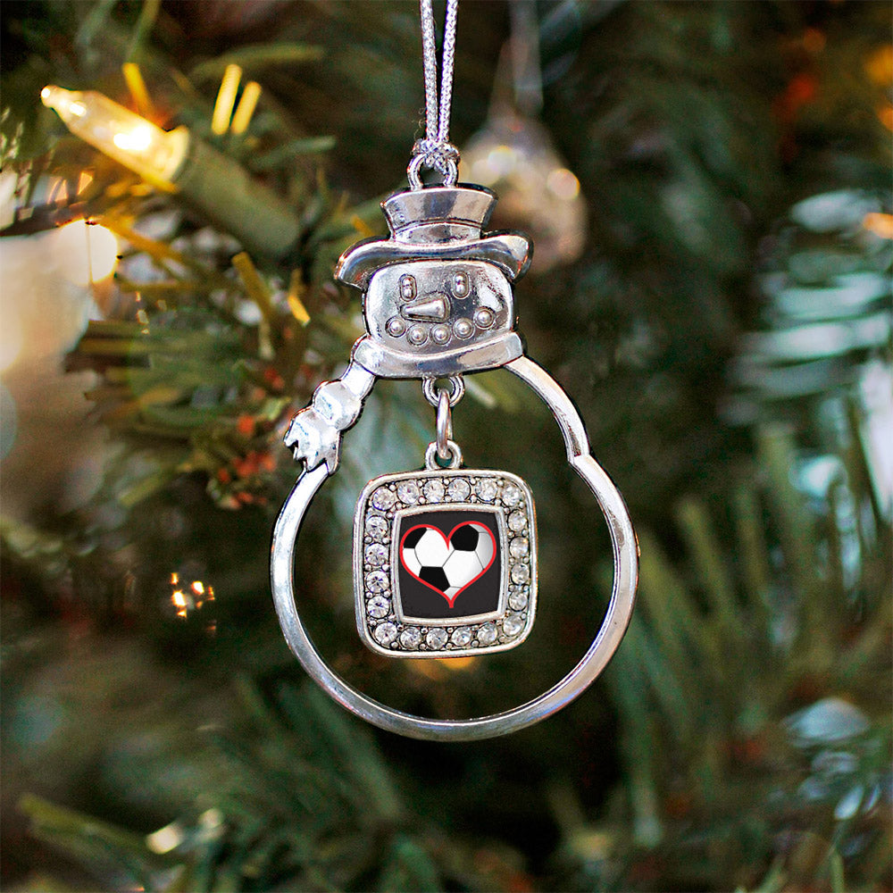 Heart Of A Soccer Player Square Charm Christmas / Holiday Ornament