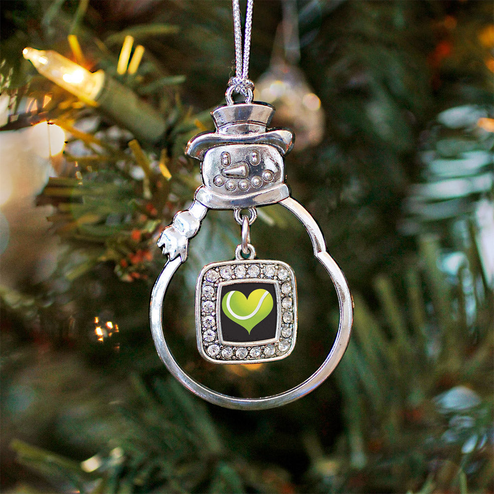 Heart Of A Tennis Player Square Charm Christmas / Holiday Ornament