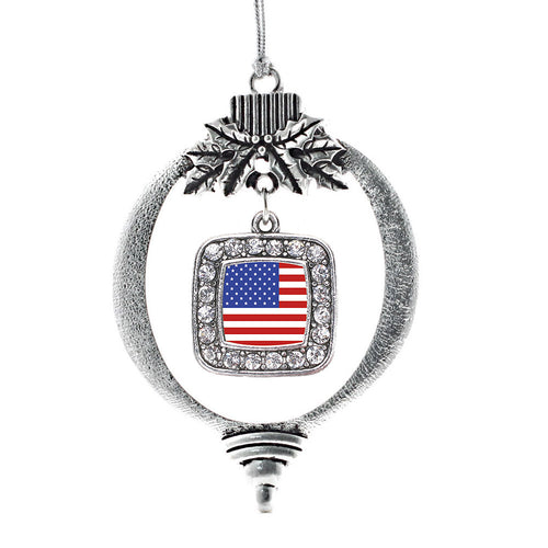 American Flag Square Charm Christmas / Holiday Ornament