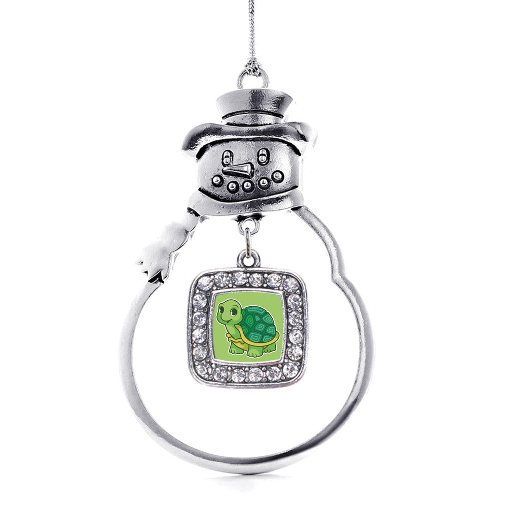Baby Turtle Square Charm Christmas / Holiday Ornament