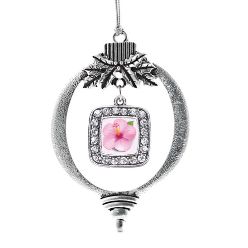 Hibiscus Flower Square Charm Christmas / Holiday Ornament