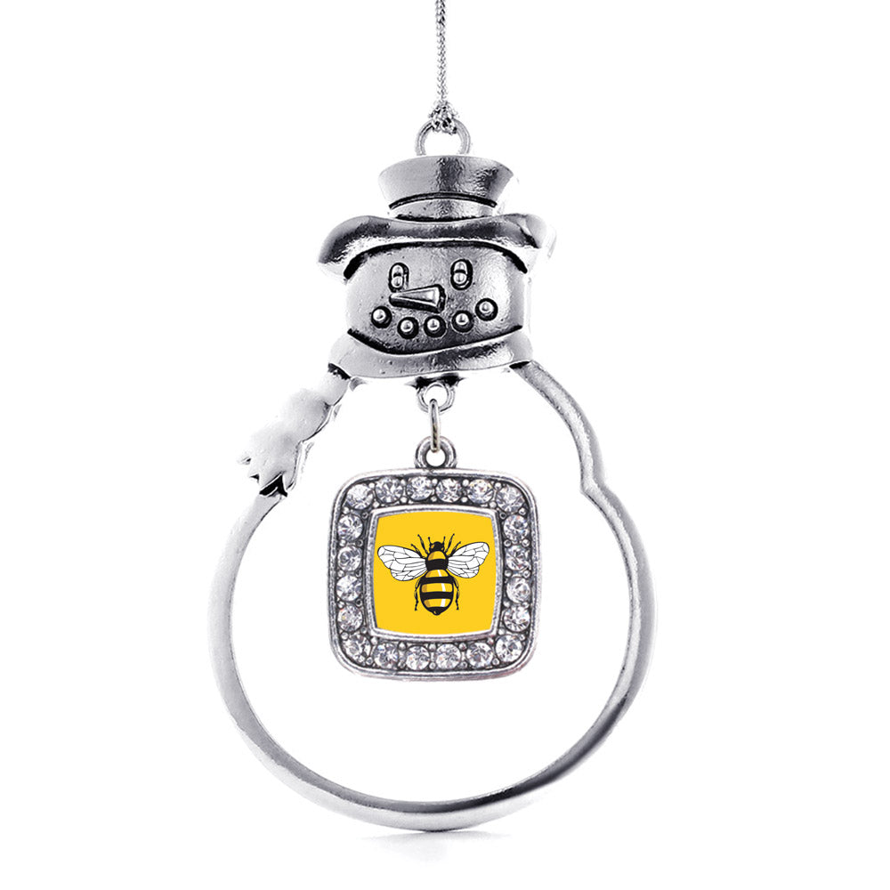 Buzzing Bee Square Charm Christmas / Holiday Ornament