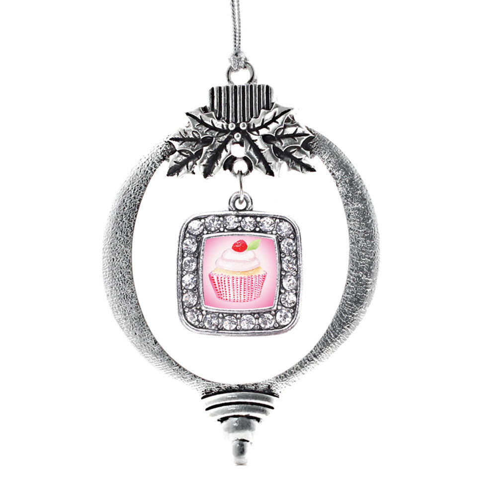 Cupcake with a Cherry on Top Square Charm Christmas / Holiday Ornament