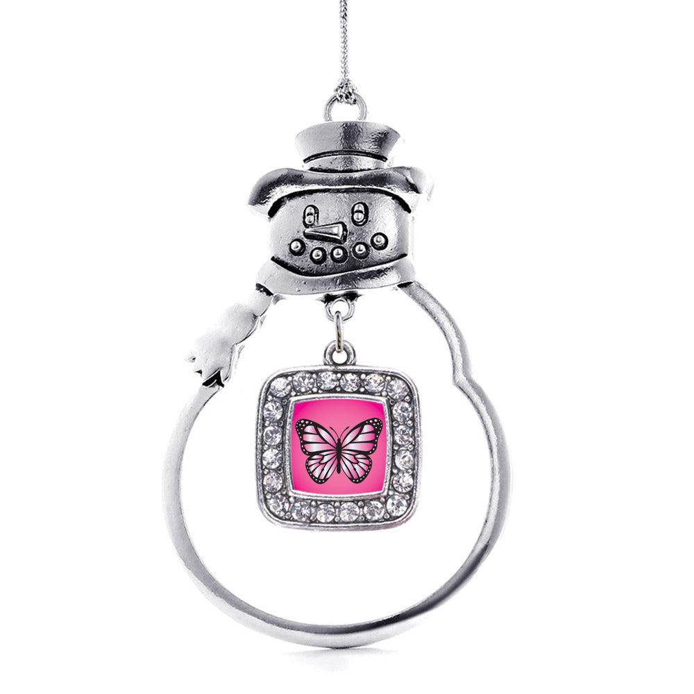 Pink Butterfly Square Charm Christmas / Holiday Ornament