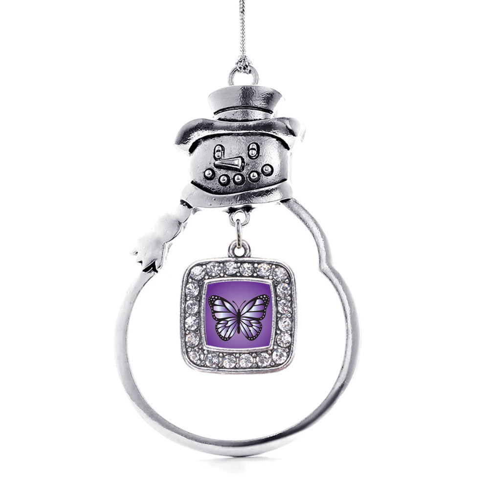Purple Butterfly Square Charm Christmas / Holiday Ornament