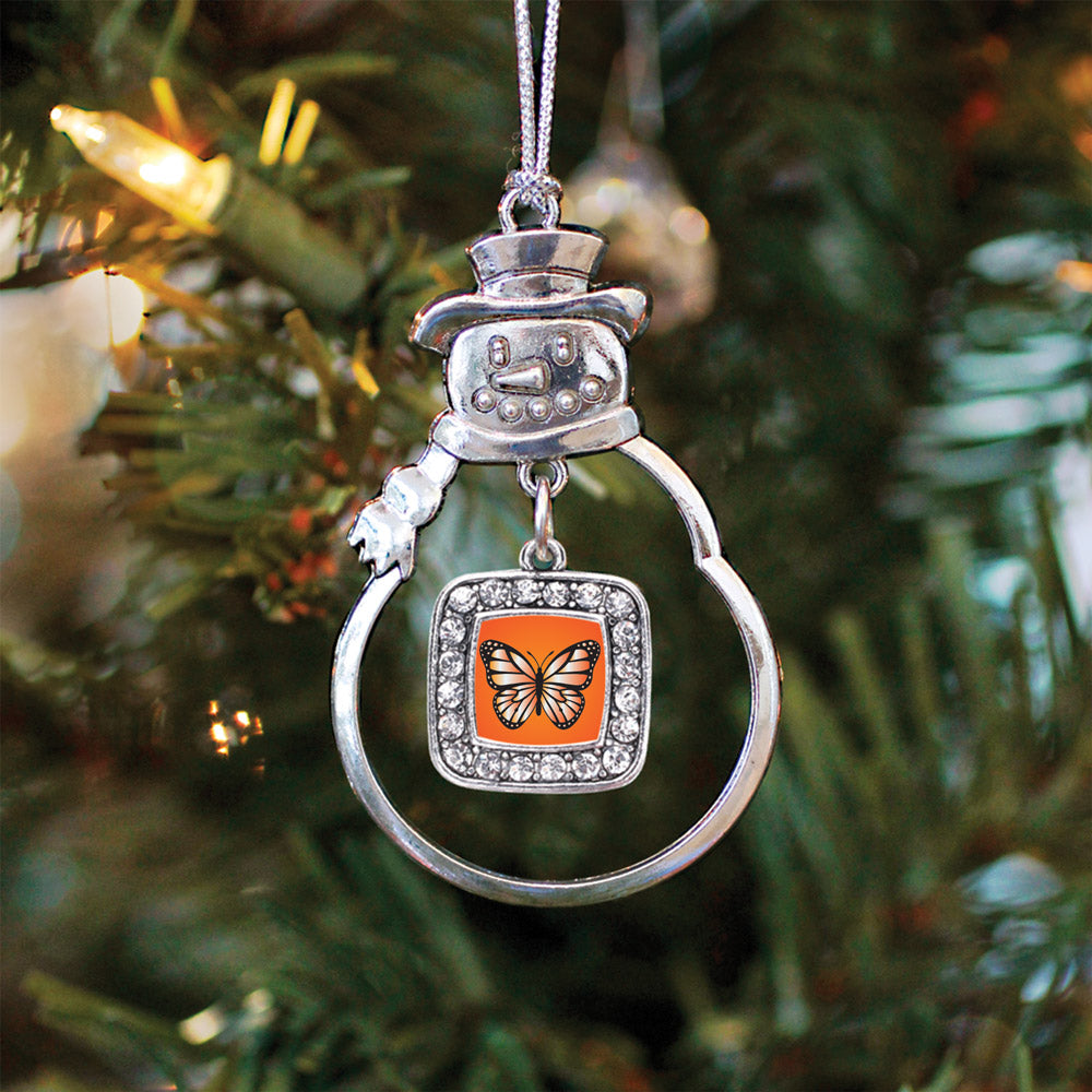 Orange Butterfly Square Charm Christmas / Holiday Ornament