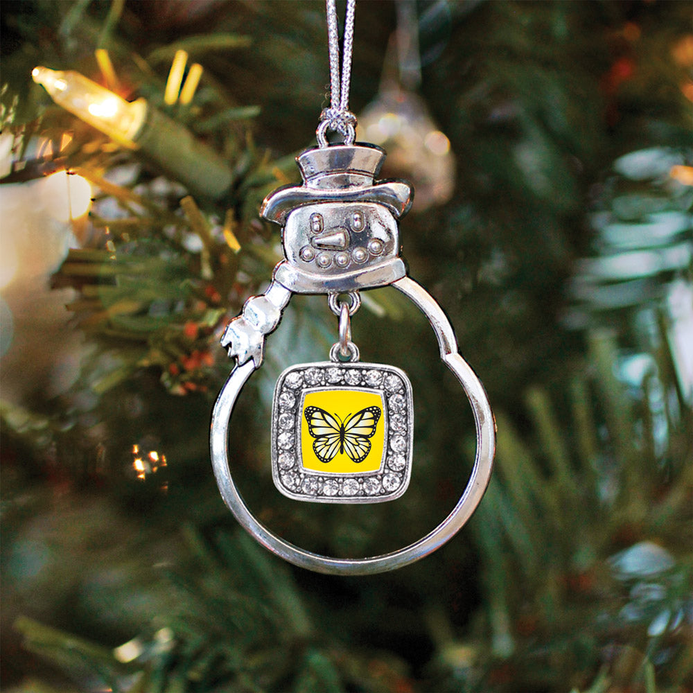 Yellow Butterfly Square Charm Christmas / Holiday Ornament