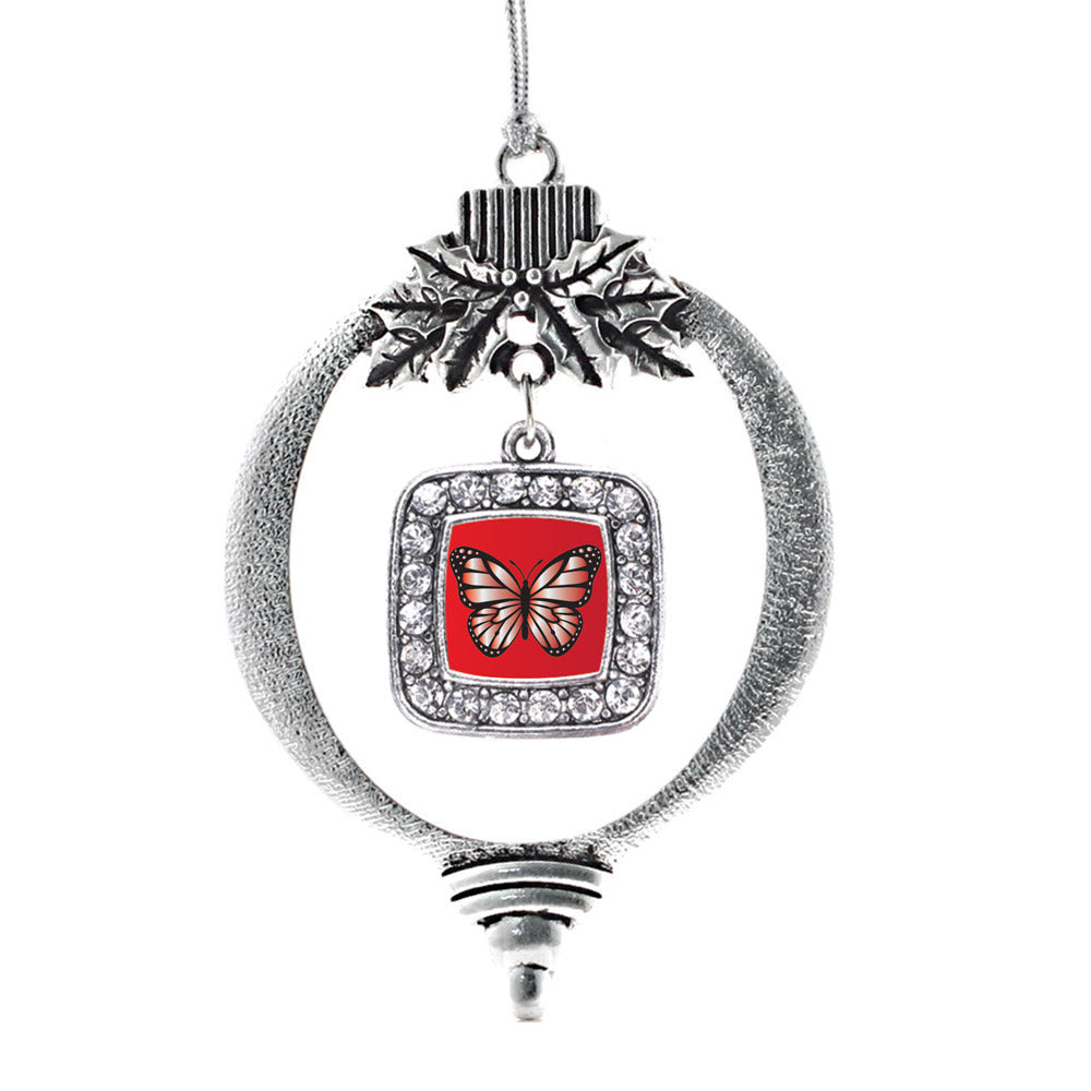 Red Butterfly Square Charm Christmas / Holiday Ornament