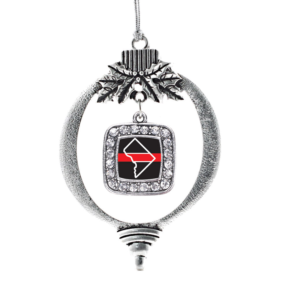 District of Columbia Thin Red Line Square Charm Christmas / Holiday Ornament