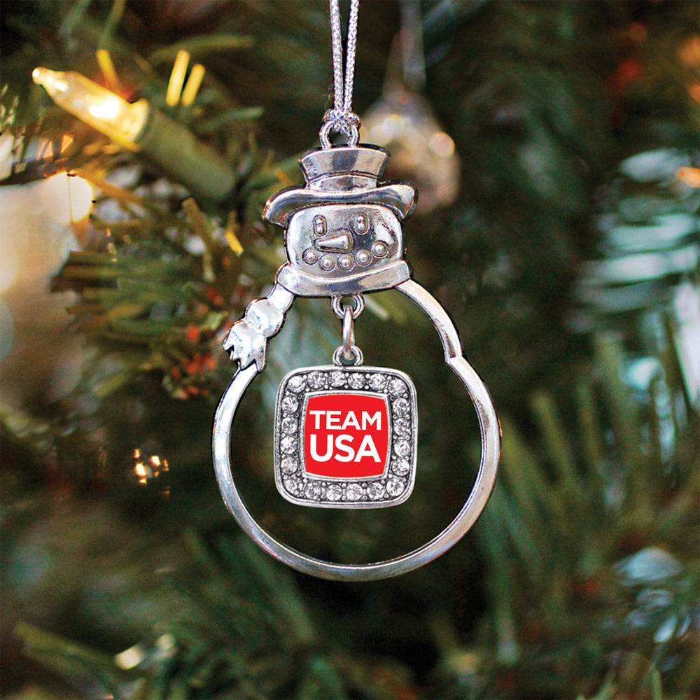 Red Banner Team USA Square Charm Christmas / Holiday Ornament